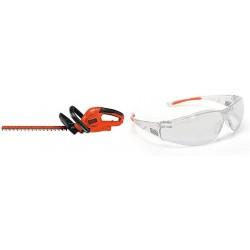 BLACK+DECKER Hedge Trimmer, 20-Inch, 3.8-Amp with Safety Eyewear, Lightweight, Clear Lens (HT20 & BD250-1C)