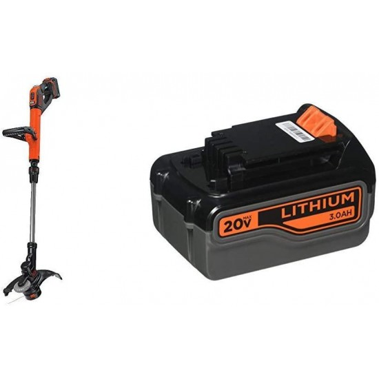 BLACK+DECKER 20V MAX Easy Feed String Trimmer with Extra Lithium Battery 3.0 Amp Hour (LSTE525BT & LB2X3020-OPE)