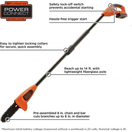BLACK+DECKER 20V MAX Pole Saw, 8-Inch (LPP120)