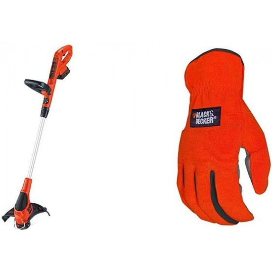 BLACK+DECKER 20V Cordless String Trimmer/Edger, 12-Inch with Easy-Fit All Purpose Glove (LST220 & BD505L)